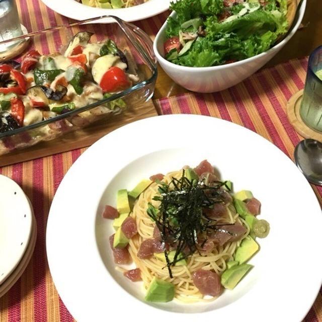 今の時期にオススメ!マグロのわさび醤油冷製パスタ♪チキンと夏野菜の味噌マヨチーズ♪…鉄則!