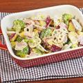 レンジで簡単!秋野菜とベーコンのマスタードマヨ和えホットサラダ