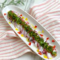 【レシピ】おろしきゅうりダレのたこのカルパッチョ