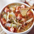 【秋の人気レシピ】ちぎりウインナーの白菜キノコ春雨スープ
