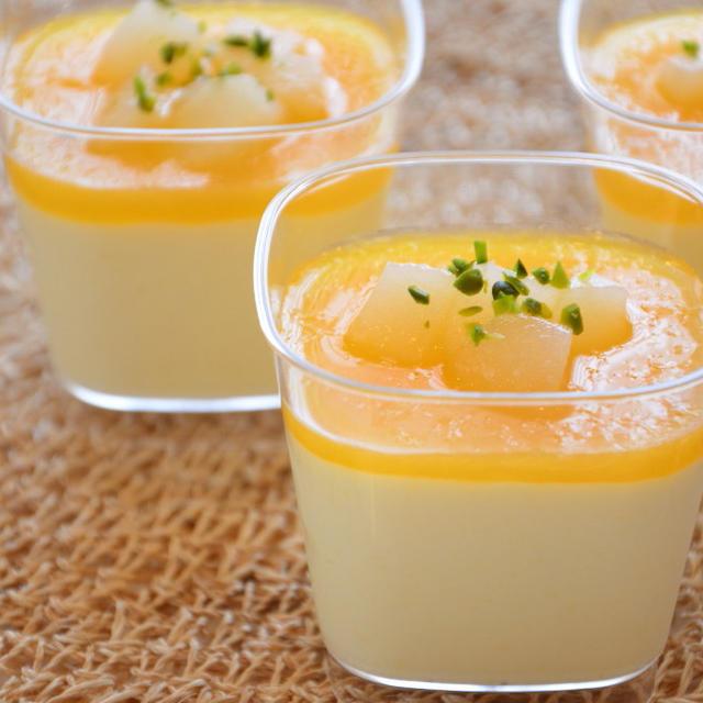 洋梨のムース☆オレンジソースで