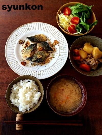 【簡単!!魚料理】サバのガーリックオイル焼きの献立と、