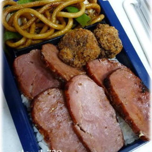 お弁当に焼き豚のめんつゆマヨネーズ