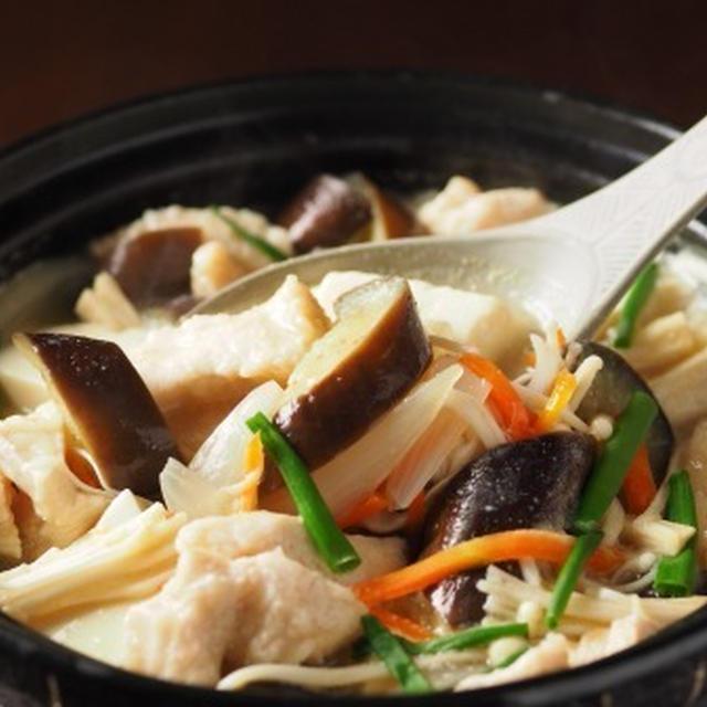 しっとり鶏むね肉と茄子の生姜味噌鍋