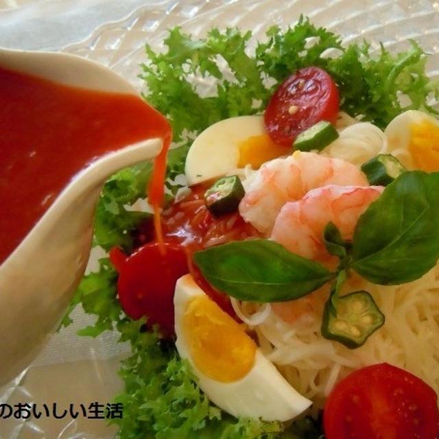 番外編♪ トマトスープと麺つゆでサラダ素麺