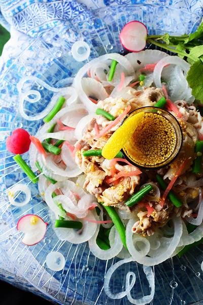 野菜たっぷりおかず豚ぽん 炉端焼き ベジスムージー 月曜の野菜バル開店 豊菜JIKAN