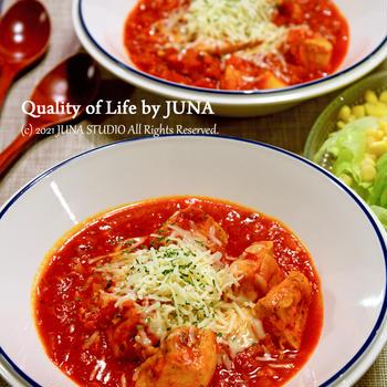 夜弁とチキンのトマト煮(むね肉バージョン)→トンノ風パスタに