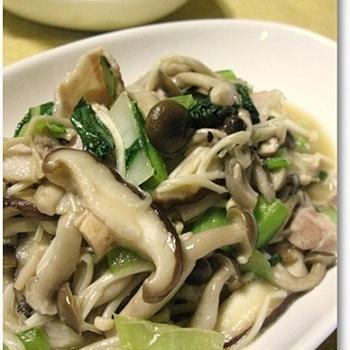 ◆蕪と油揚げのあんかけ&きのこと青梗菜のバタぽん炒め♪
