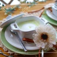 ストウブセラミックで初夏の草原色のえんどう豆のカプチーノスープ