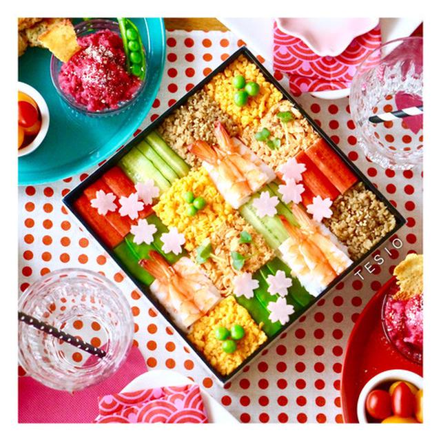 お花見にも♪そぼろモザイク寿司パーティー