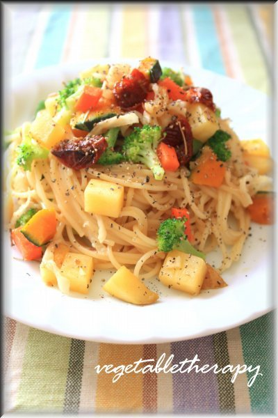 切干大根といろいろ野菜のローズマリーぺペロンパスタ