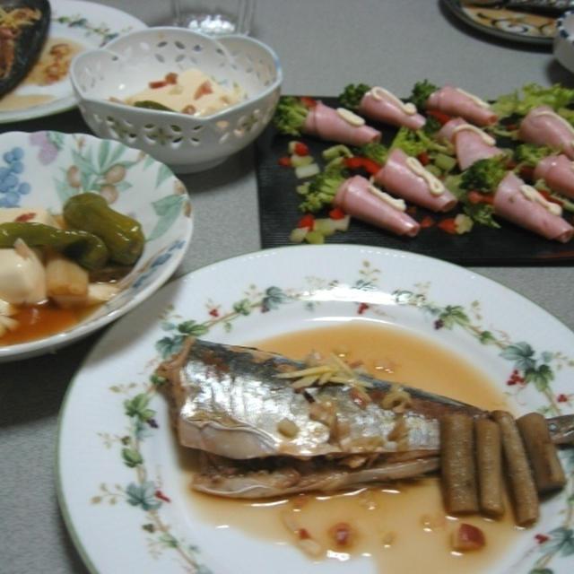 アジの蒸し煮で夕食