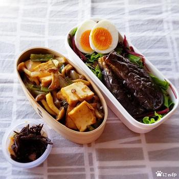 今日のMy弁当「百鬼ドレッシングでなすマリネ&厚揚げで焼肉風丼」