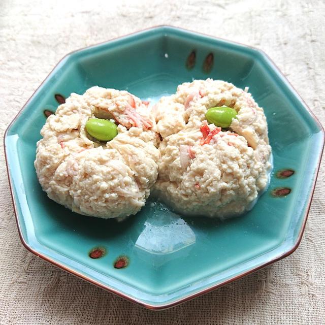 レンジで簡単豆腐とカニカマと枝豆の和風巾着
