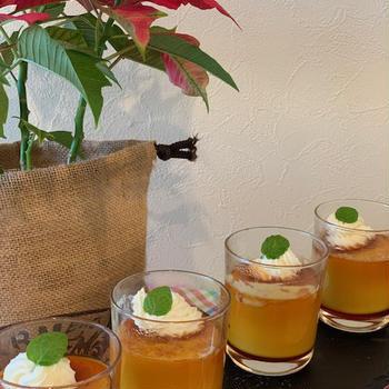 食育講座のレシピ作り・フープロで簡単!!豆乳カボチャプリンの試作品作り~今朝の富士山