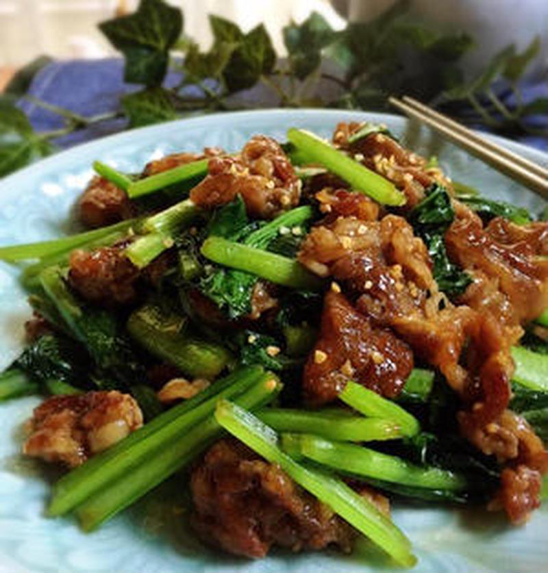 普段のおかずに♪「小松菜×牛肉」の簡単炒め物レシピ