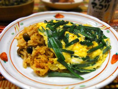 ピリ辛ご飯のニラ玉丼★