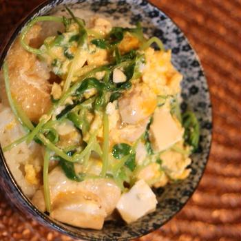 *豆腐と厚揚げを使った親子丼*