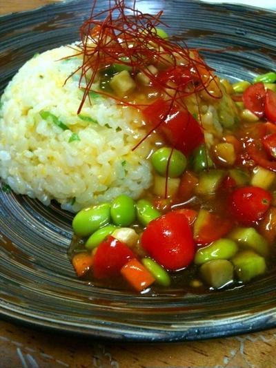 夏野菜あんかけチャーハン&ミニ春巻き