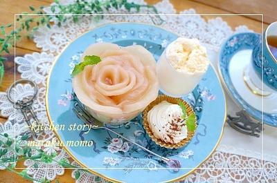 簡単!自家製*桃の缶詰で作る『桃バラ』デザート