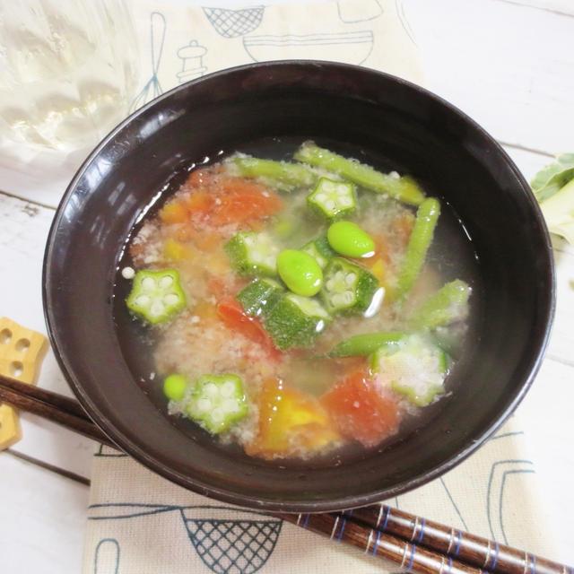 料理教室☆きまぐれランチ♪2017.7夏に・オクラと豆の塩麹スープ