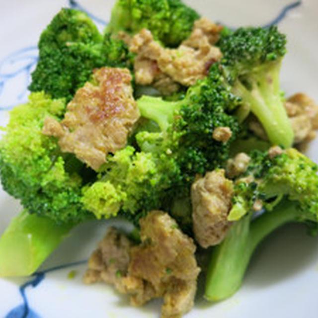 ブロッコリーと挽肉カレー炒め