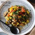 【鶏肉レシピ】愛用品の3coins!と夏野菜と鶏もも肉のカレートマト炒め
