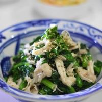 レンジ蒸し鶏と菜の花の塩ジャン和え