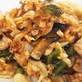■簡単5分おかず【菜園野菜と豚肉+酢玉葱のスイチリ・麺つゆ炒め】