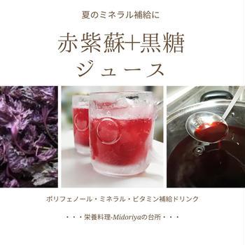 【夏のミネラル補給・熱中症対策に】自家製簡単・赤紫蘇+黒糖のジュース