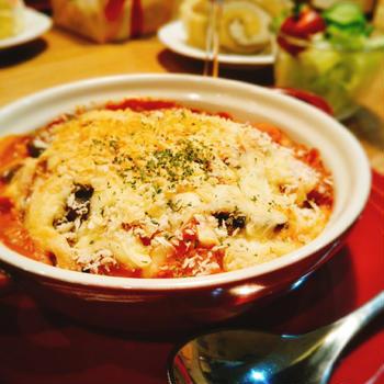 茄子とベーコンのトマトクリームグラタン