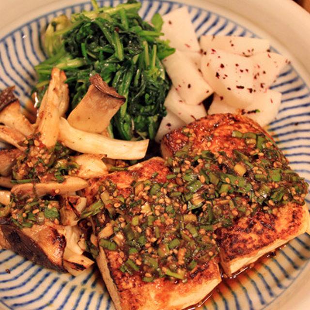 豆腐ステーキでがっつり晩御飯♪^^
