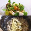 牛ごぼう飯、豆腐とクレソンのツンツンサラダ
