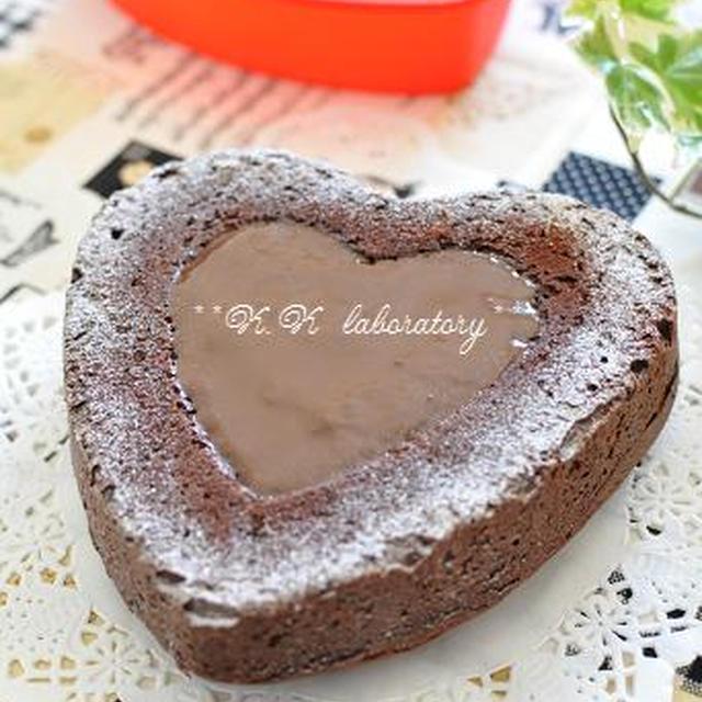 ルクエハート型でバレンタインチョコケーキ