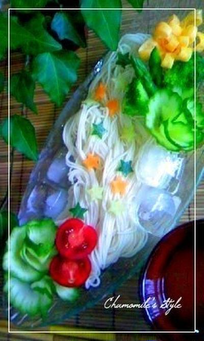 七夕そうめんにも使える胡瓜のお花のレシピ