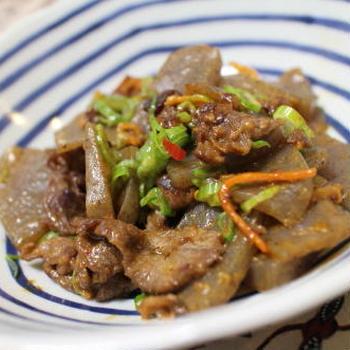 20/01/07 牛肉とこんにゃくのピリ辛味噌炒め
