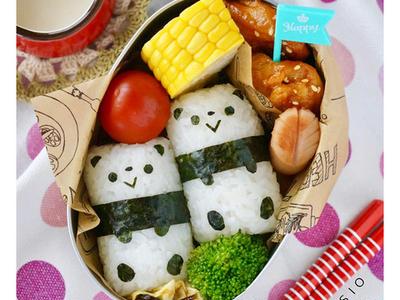>パンダの俵おにぎり&うまトマ照り焼きチキン弁当♪【レシピあり】 by chihoさん
