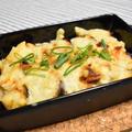 なす豚キムチのチーズ焼き【ぐんまクッキングアンバサダー】なすとチーズがとろーり、キムチの素で味つけ簡単おつまみ。