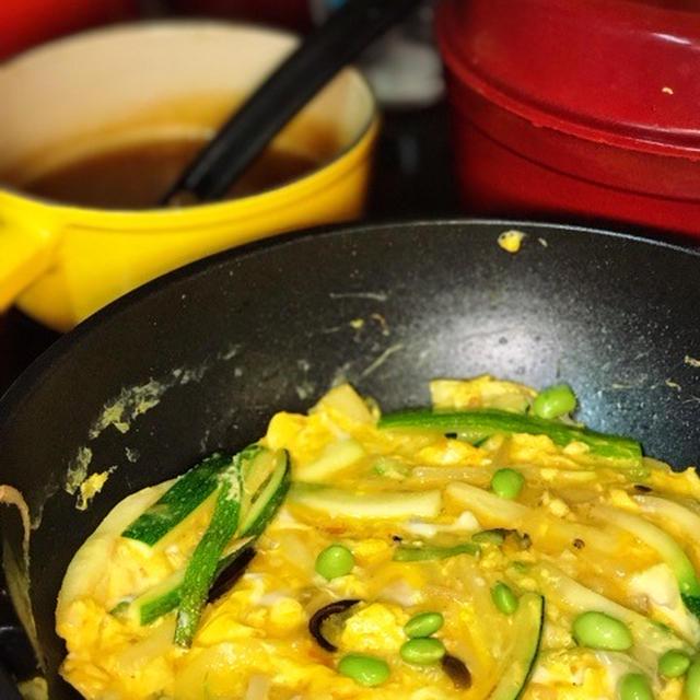 ズッキーニと枝豆の天津丼