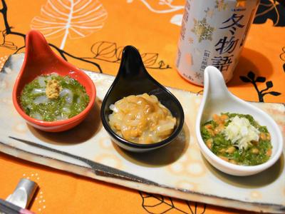 めかぶ、納豆、イカ、塩ウニでおつまみ盛り合わせ。ありもので簡単