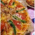 ★トマト・アスパラ・ソーセージのバジルピザ★ by mimikoさん