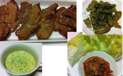 サーモンマリネ、豚バラ塩麹漬けのサムギョプサル風、ポタージュ、ゴボウのから揚げ、和風カニ玉
