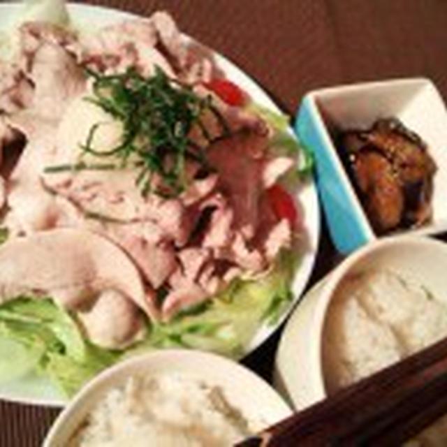 晩ごはん:冷しゃぶとナスの中華炒め。