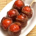 甘焼きジュワ〜☆肉巻きプチトマト串