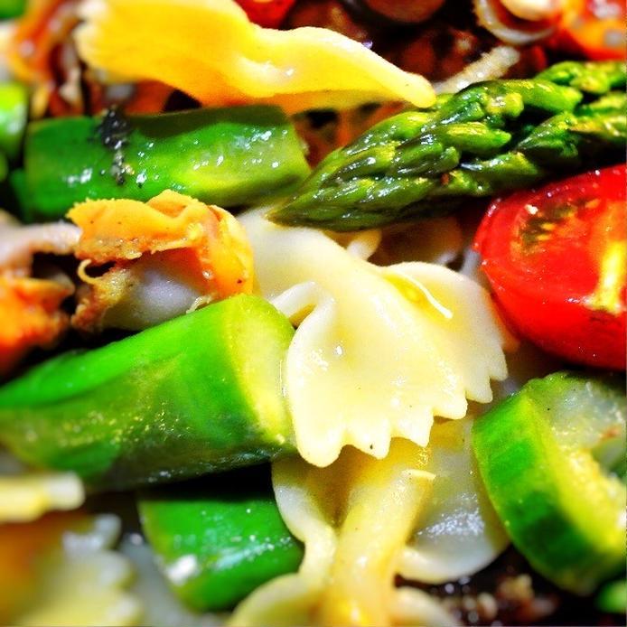 ホタテの貝ひもとファルファッレとアスパラのサラダ