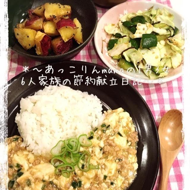 [110円]鶏ひき肉のあっさり麻婆豆腐献立