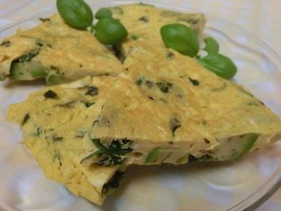 粉チーズでコクうま♪ アボカドとバジルのオムレツ
