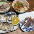 太刀魚の塩焼きと鯵の刺身