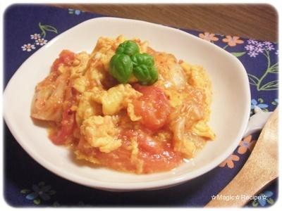 キムチとトマトと玉子の炒め物