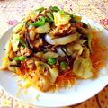 """""""辣椒蔬菜炸麺 """" 野菜あんかけ固焼きそば(激辛チリソース味)"""